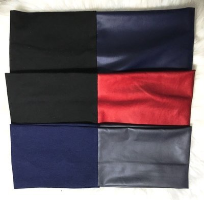 Cotton/pleather flat headbands