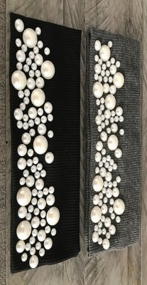 Waffle cotton flat head band w/fancy pearls