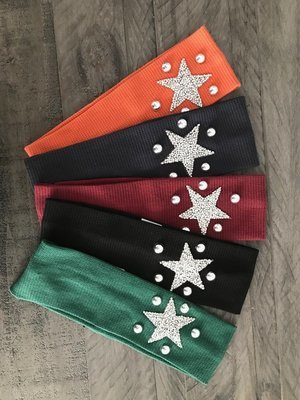 Narrow flat waffle cotton w/star headbands