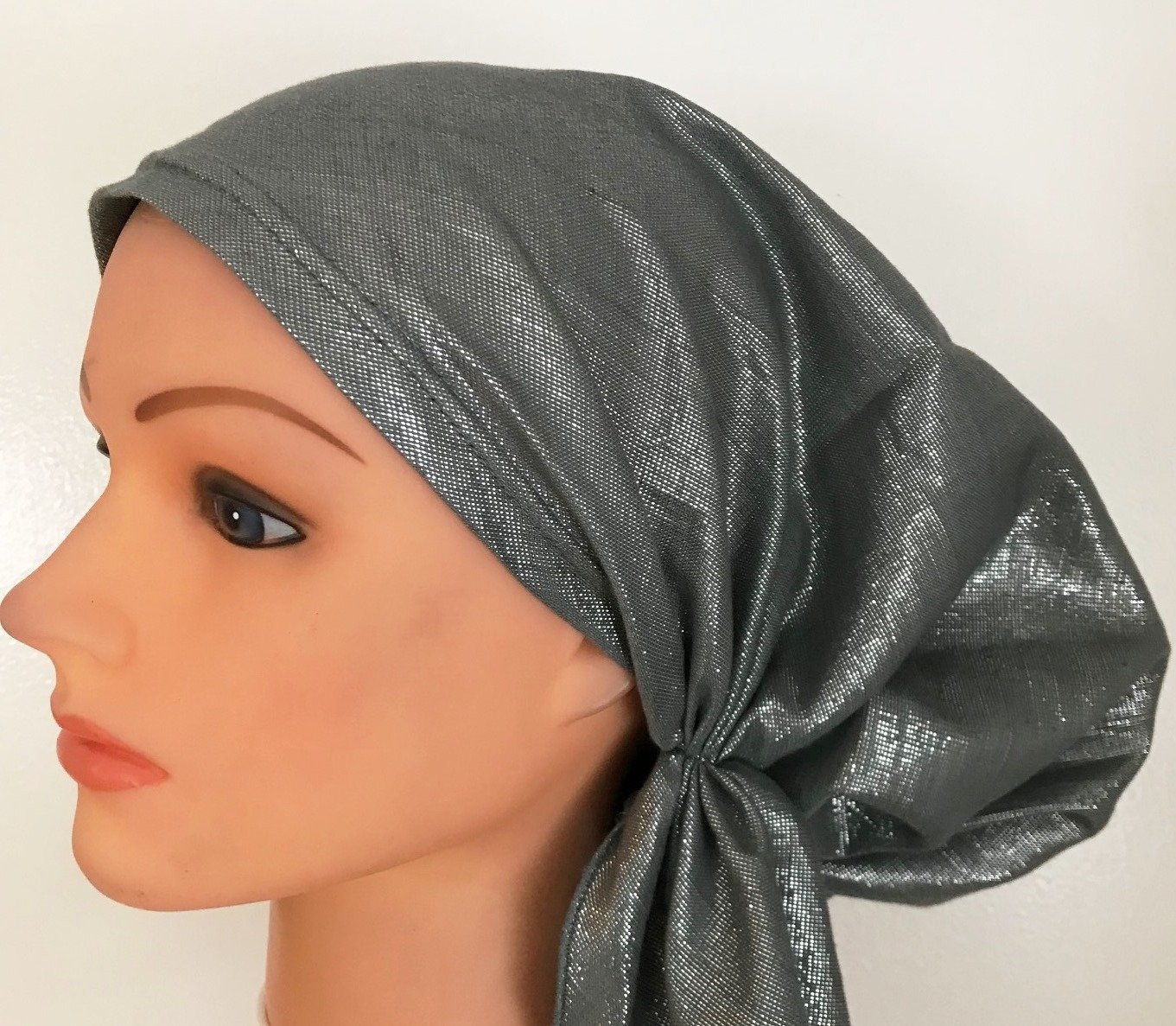 Dark gray solid shimmer pretied tichel