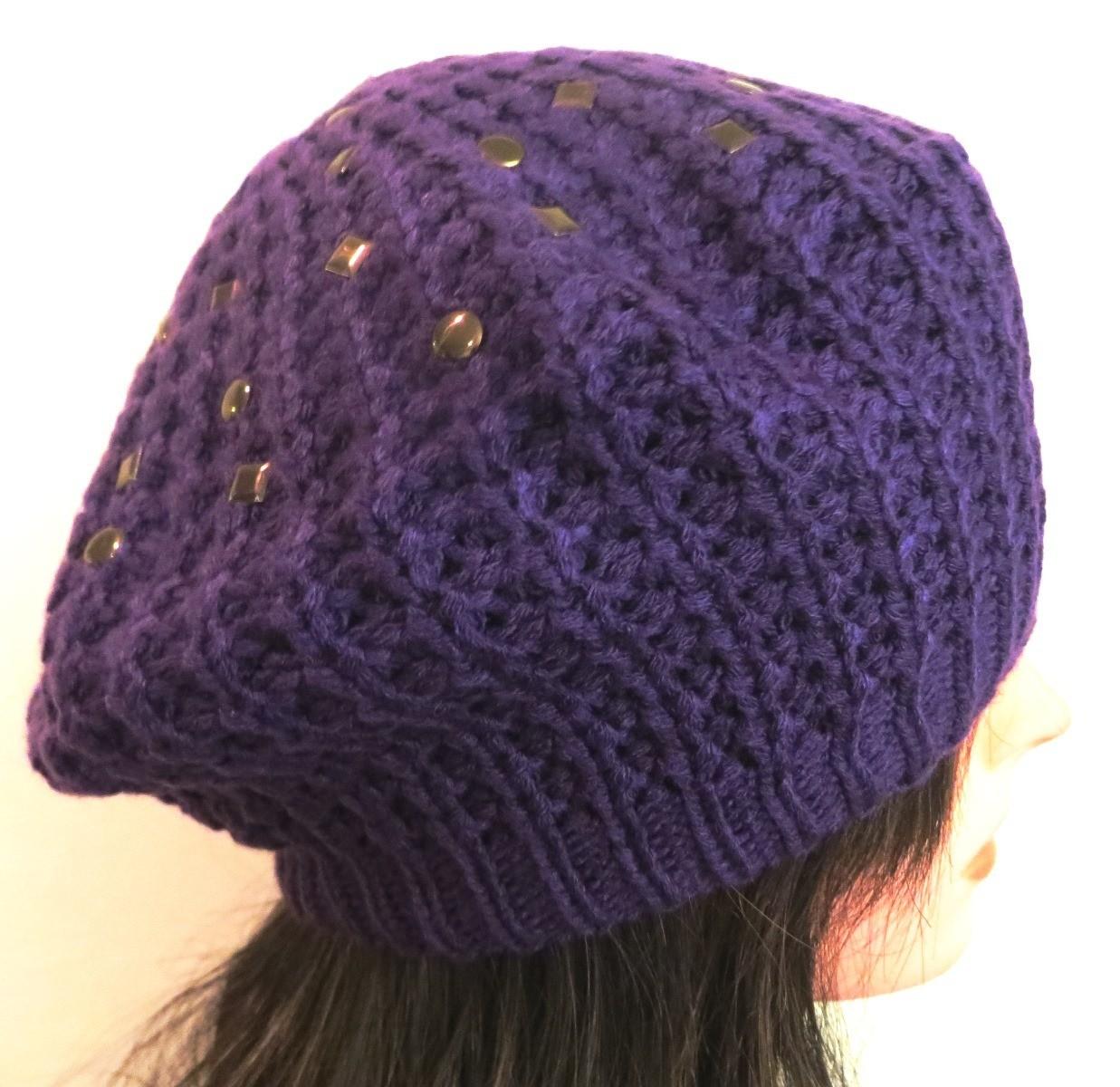 Purple beret with metal