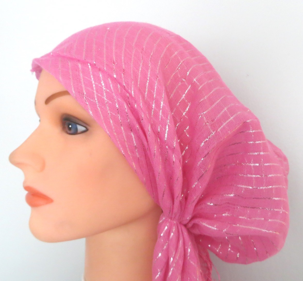 Light pink lurex pre tied tichel