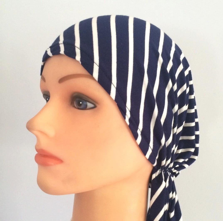 Blue striped pre-tied tichel