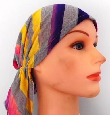 Bright mixed colors pre-tied tichel