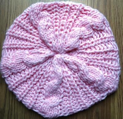 Pink chunky beanie beret