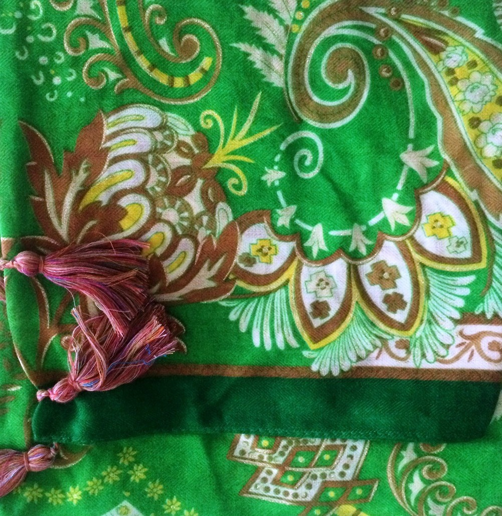 Lime green soft tichel with Oriental flavor