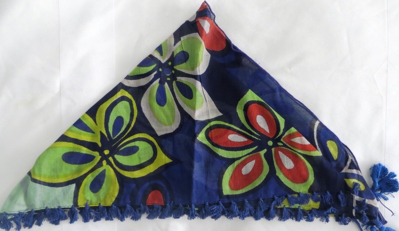 Blue big flower pattern bandana