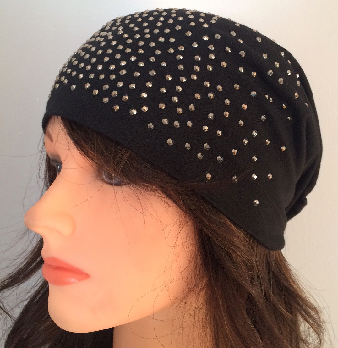 Black summer sparkle beanie