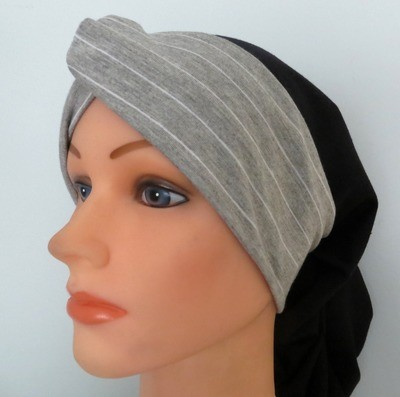Knot snood black and gray