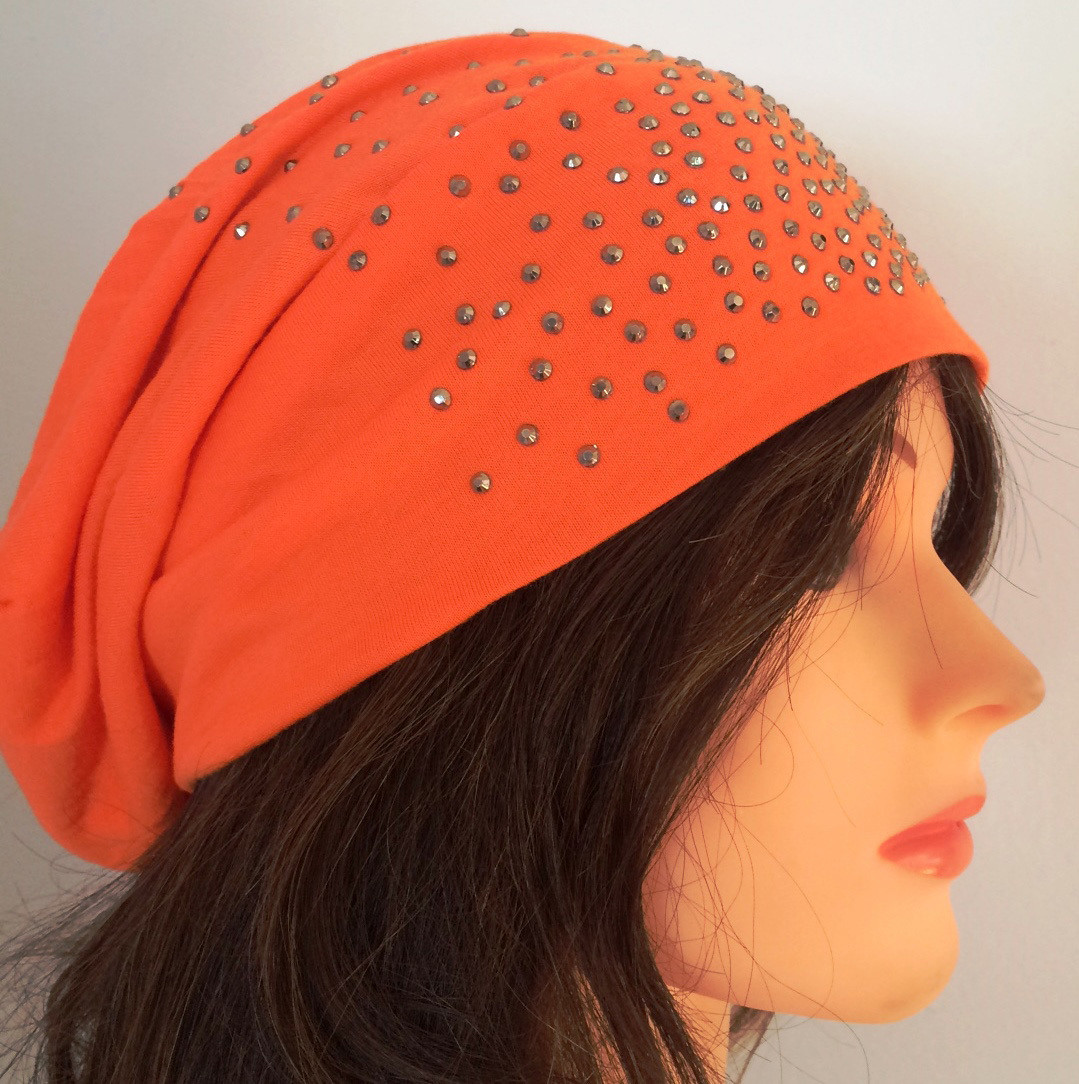 Orange summer sparkle beanie