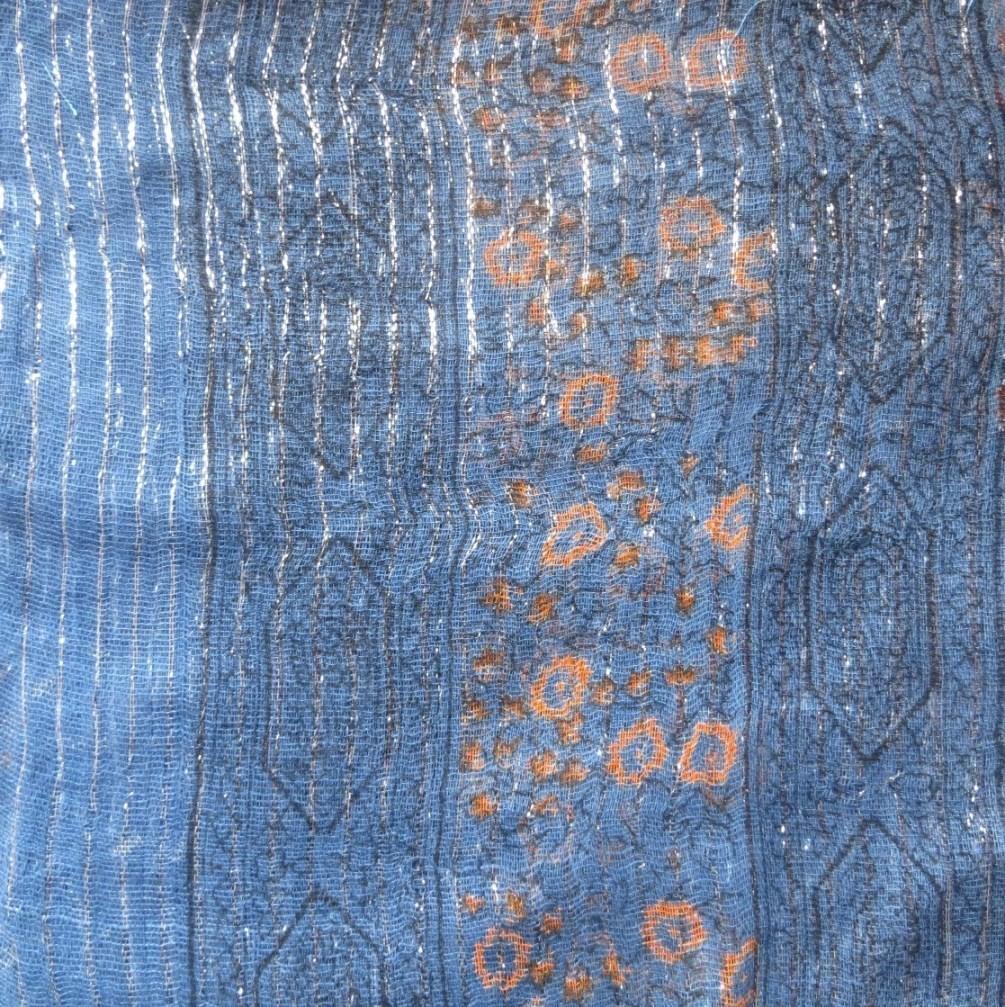 Denim blue lurex tichel with orange berry flowers