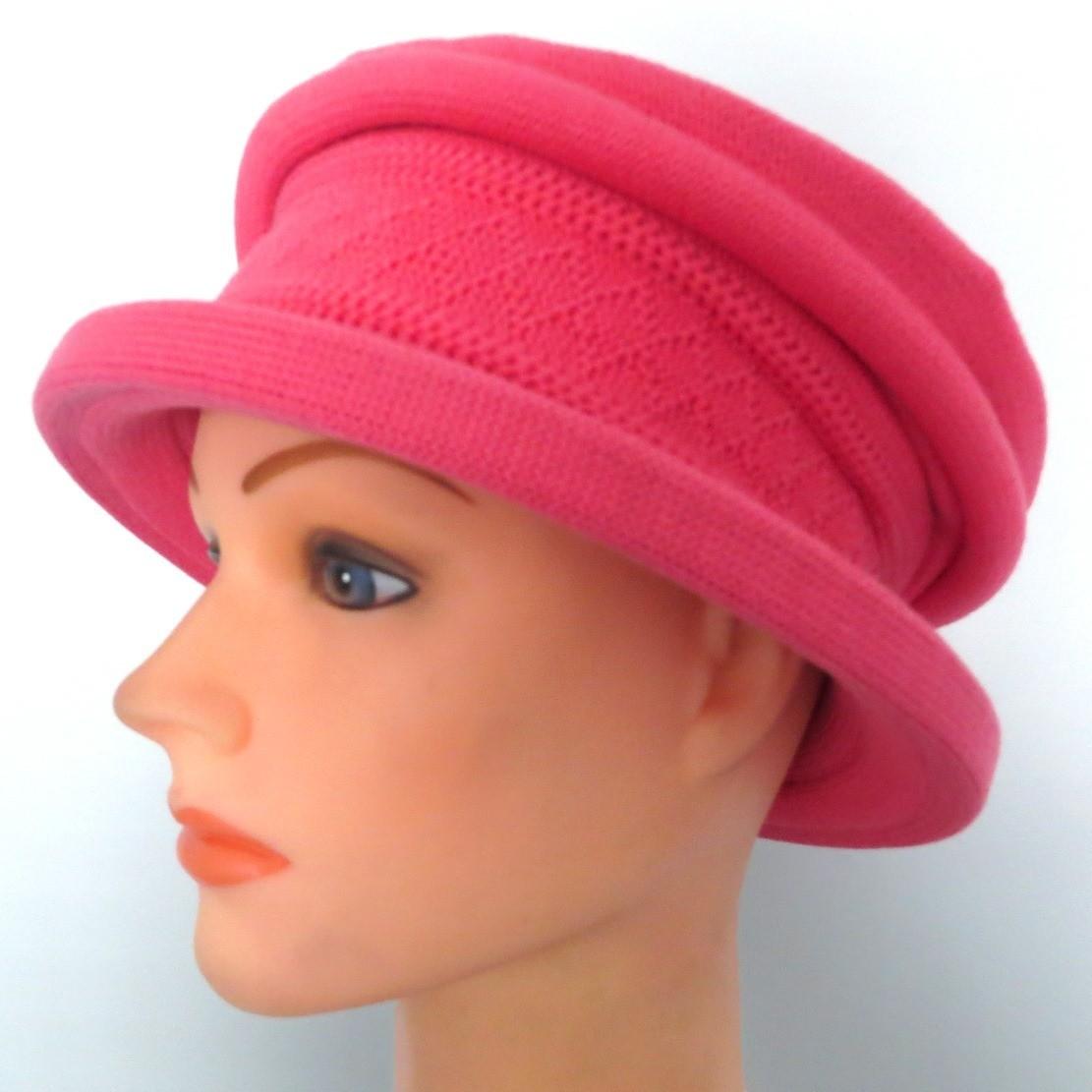 Cotton beret hat hot pink