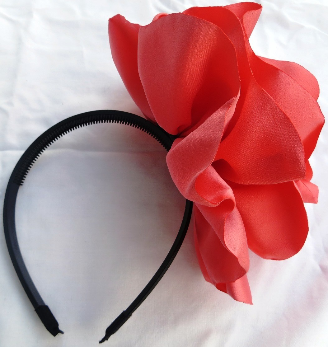 Coral pink extra large flower headband