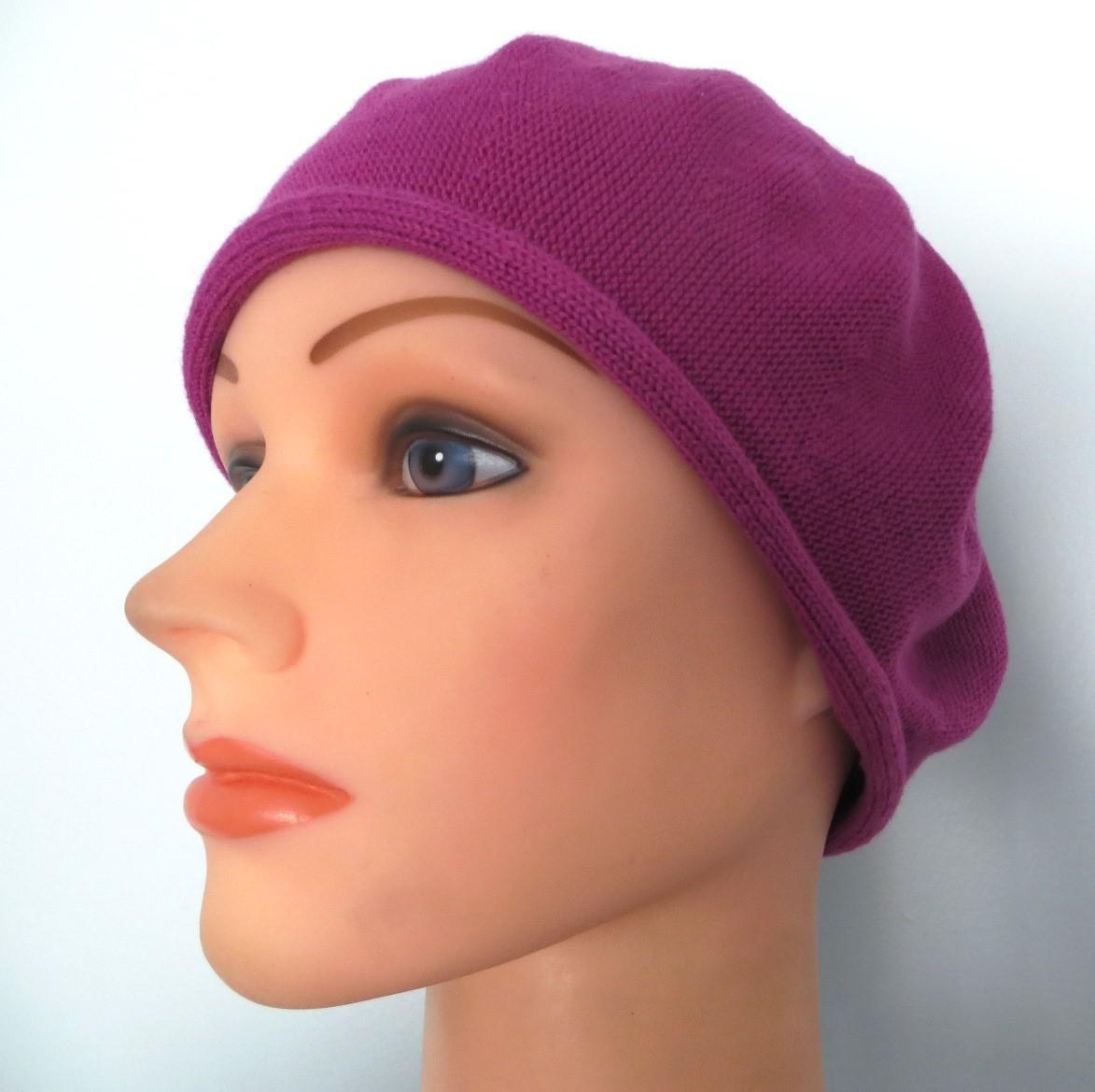 Cotton beret fuchsia