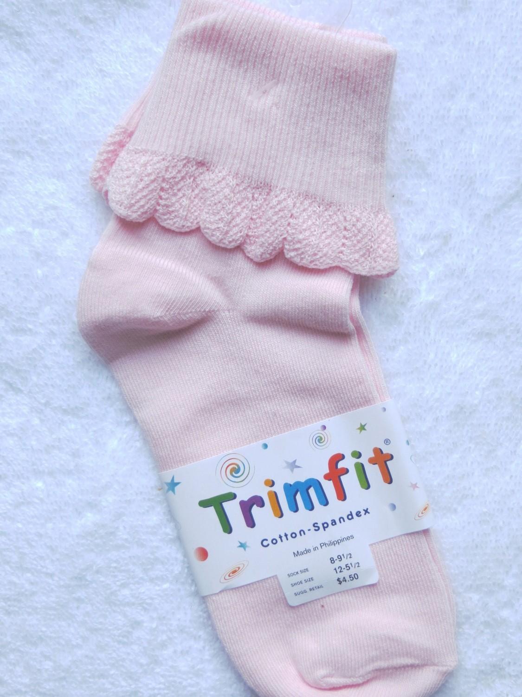 Pink short sock ruffled cuff