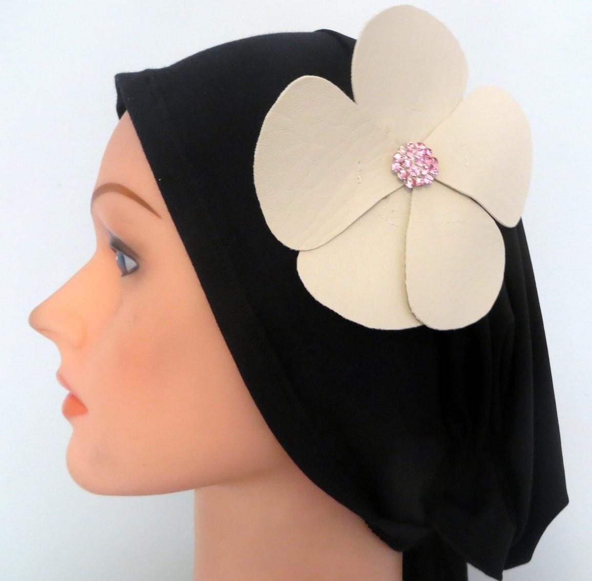 Self tie tichel black with off white flower #2