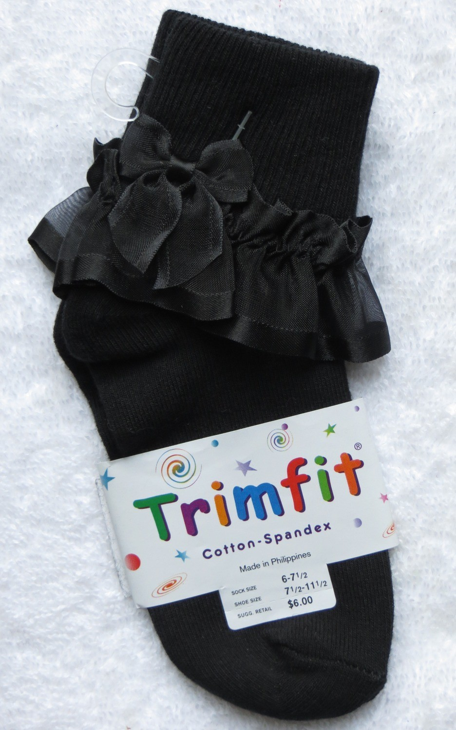 Black short sock with frill and bow