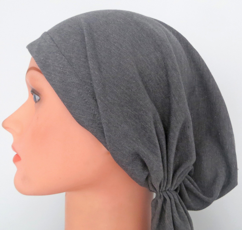 Gray cotton pre tied tichel