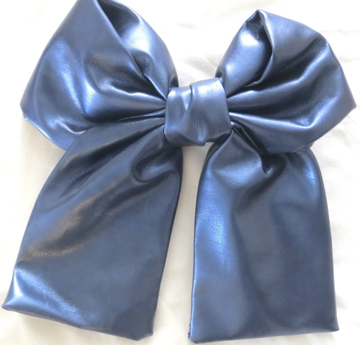 Blue large faux leather bow