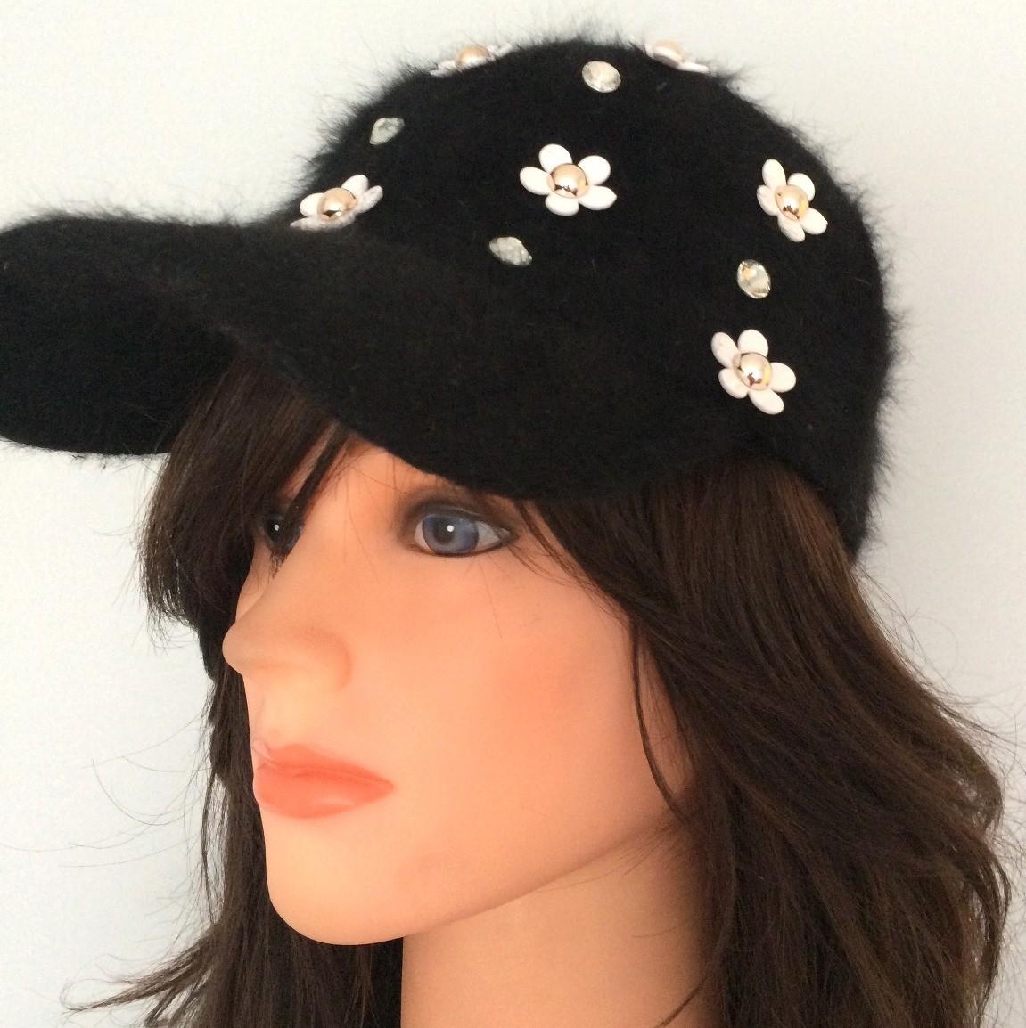 Black furry bejeweled cap