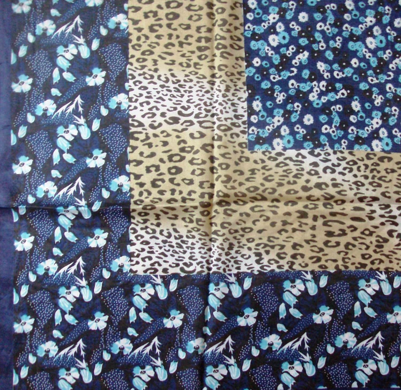 Navy blue border silk style headscarve tichel