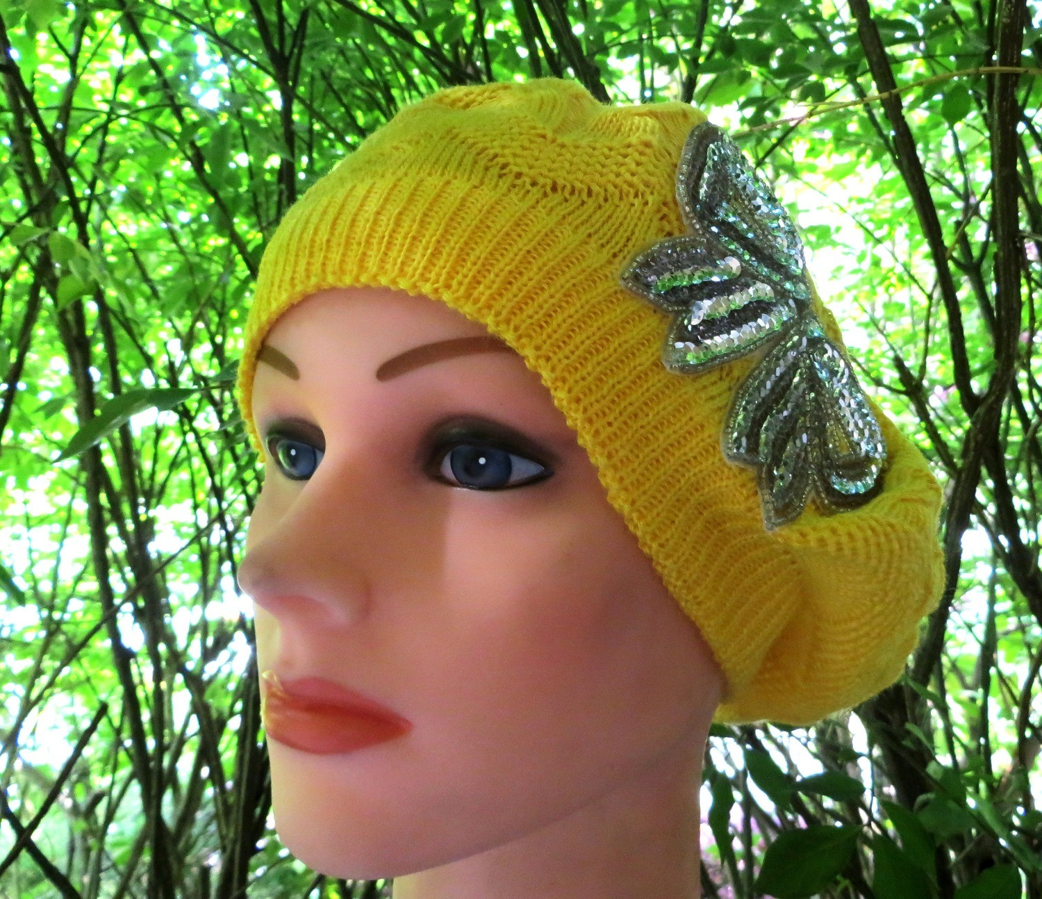 Bright yellow summer style beret