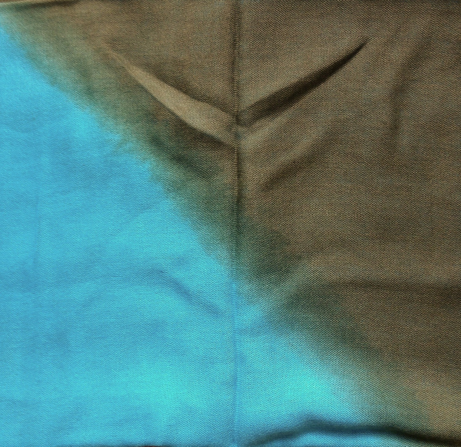Green and aqua blue two tone tie dyed tichel
