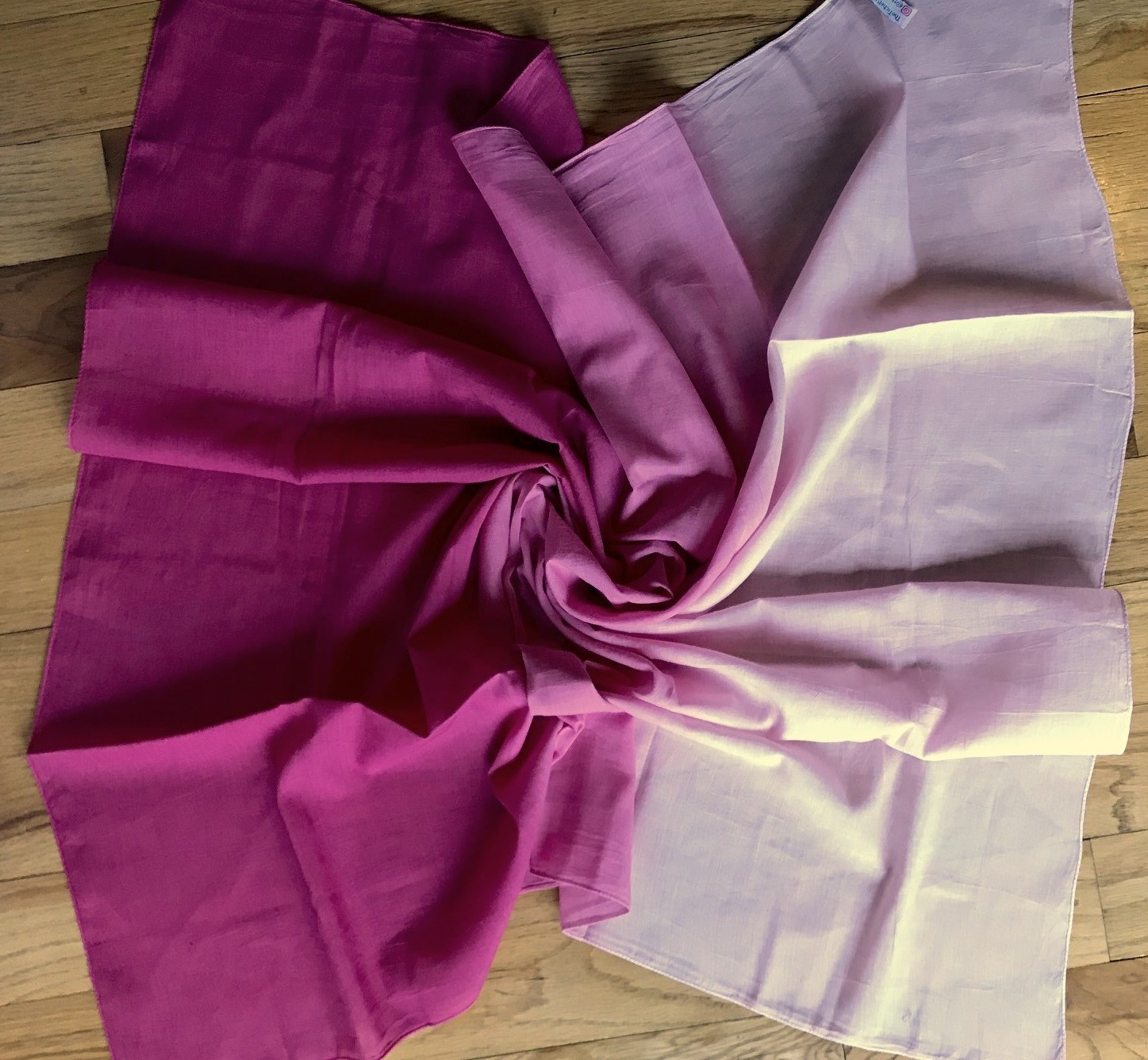 Deep pink cotton shaded ombre' tichel