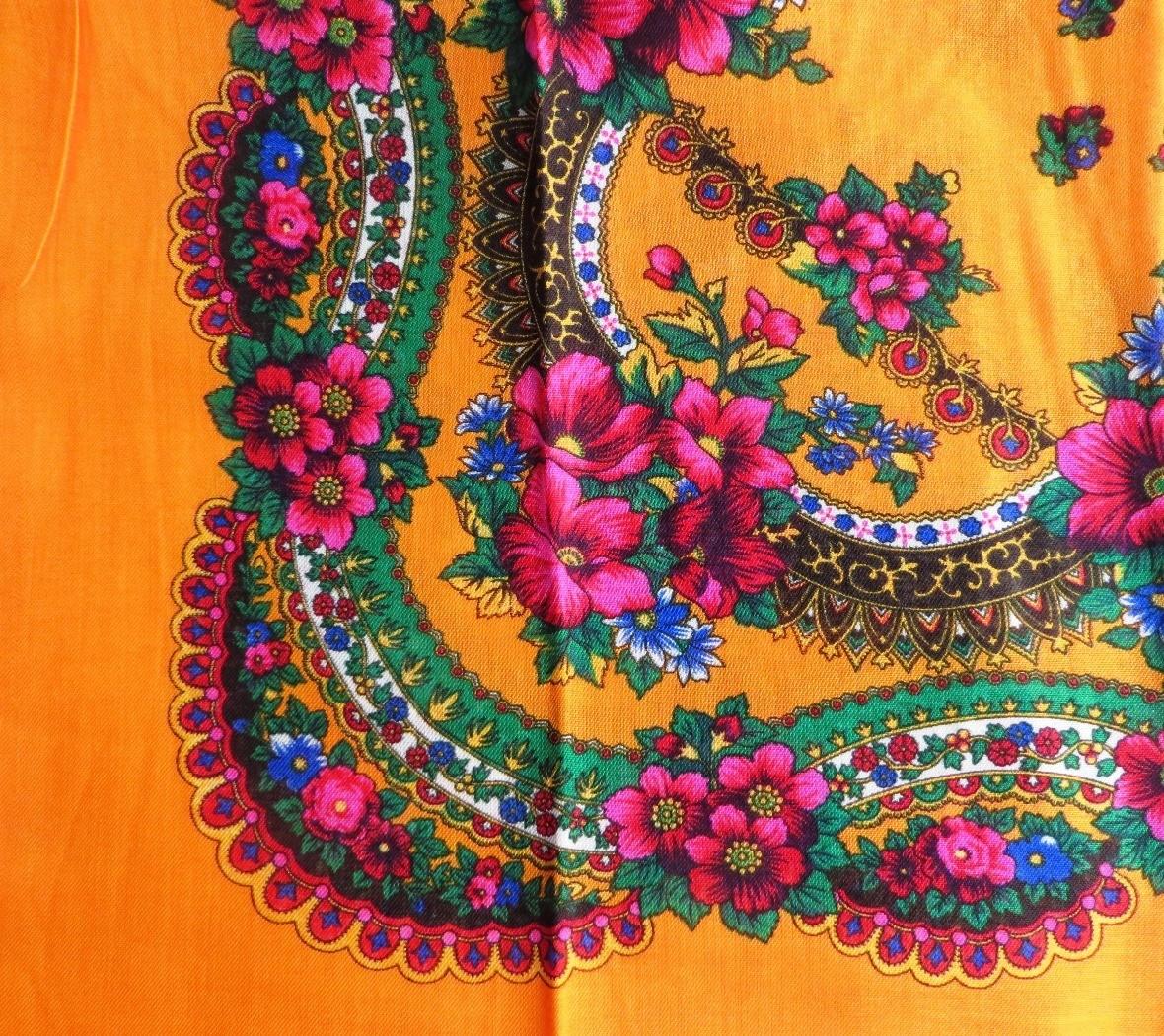 Bright orange vintage tichel