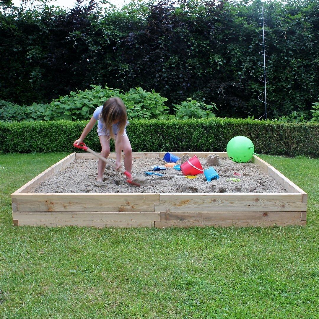 Modulaire houten zandbak XXL | L 210 x B 210 x H 25 cm