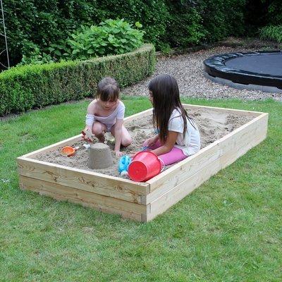 XL modulaire houten zandbak | L 210 x B 107 x H 25 cm