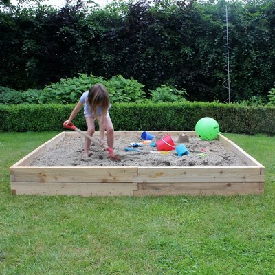XXL modulaire houten zandbak | L 210 x B 210 x H 25 cm