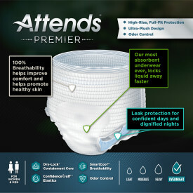 Attends Premier Underwear Medium, 72 count