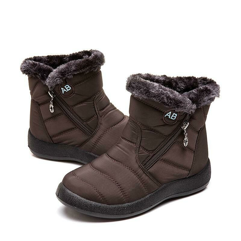Women's Warm Waterproof Cotton Shoes Nylon Snow Boots Winter Ankle Boots Non-slip Short Boots Botas