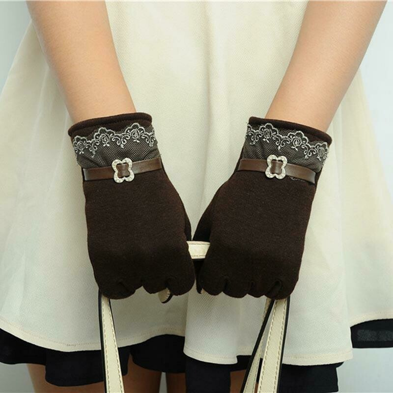 Female Winter Warm Gloves Touch Screen Lace Patchwork Elegant Driving Mittens for Women's