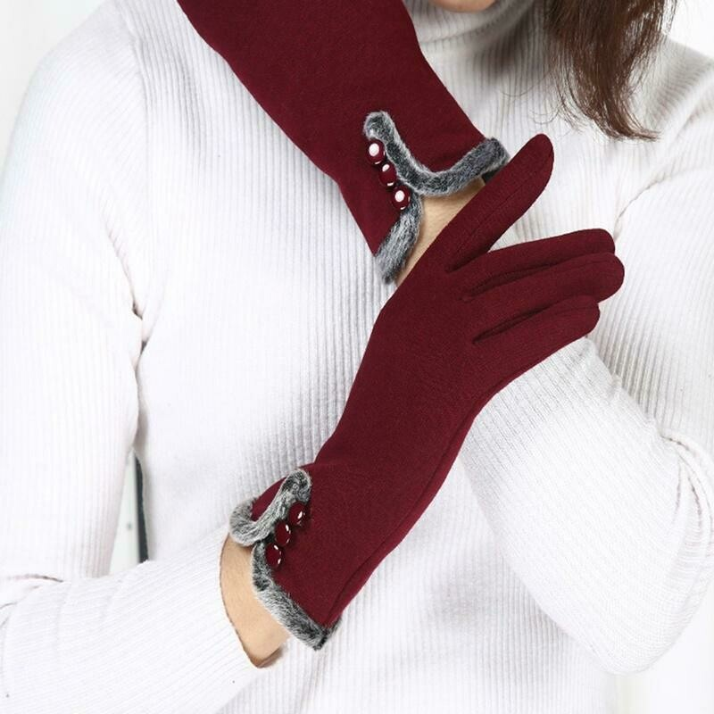 Women Fashion Accessories Warm Gloves Cute Riding Plus Velvet Touch Screen Gloves