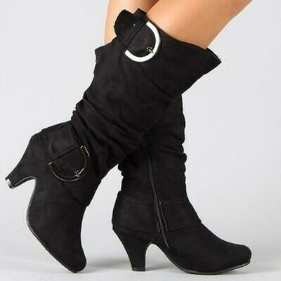 Women's Fashion Round Toe Low Heel Knee High Zipper Riding Boot Shoes