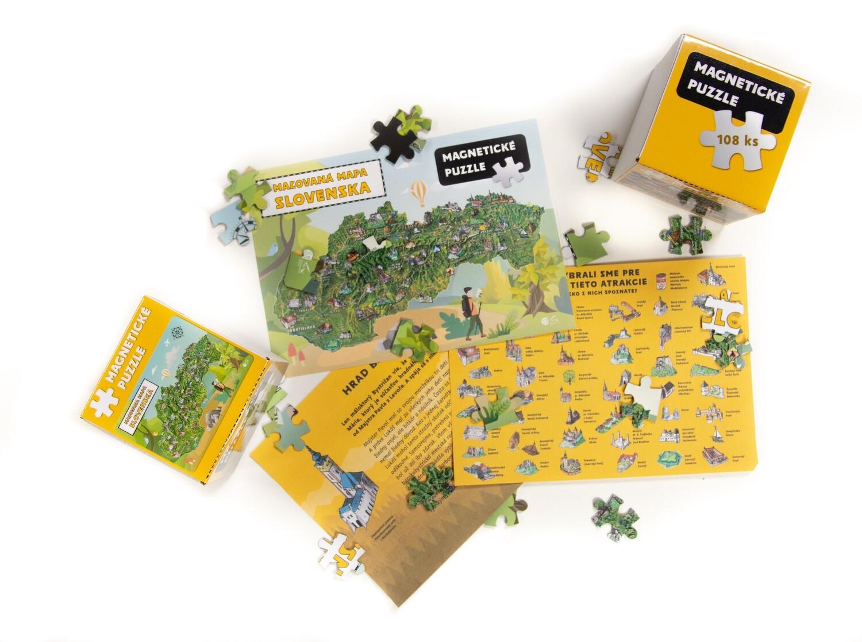 Magnetické puzzle - Maľovaná mapa Slovenska