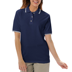 Women's Striped Collar / Sleeve Polo