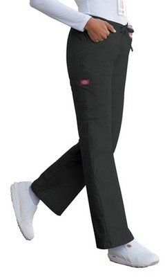 Missy Fit Mid-Rise Drawstring Cargo Pant in Black