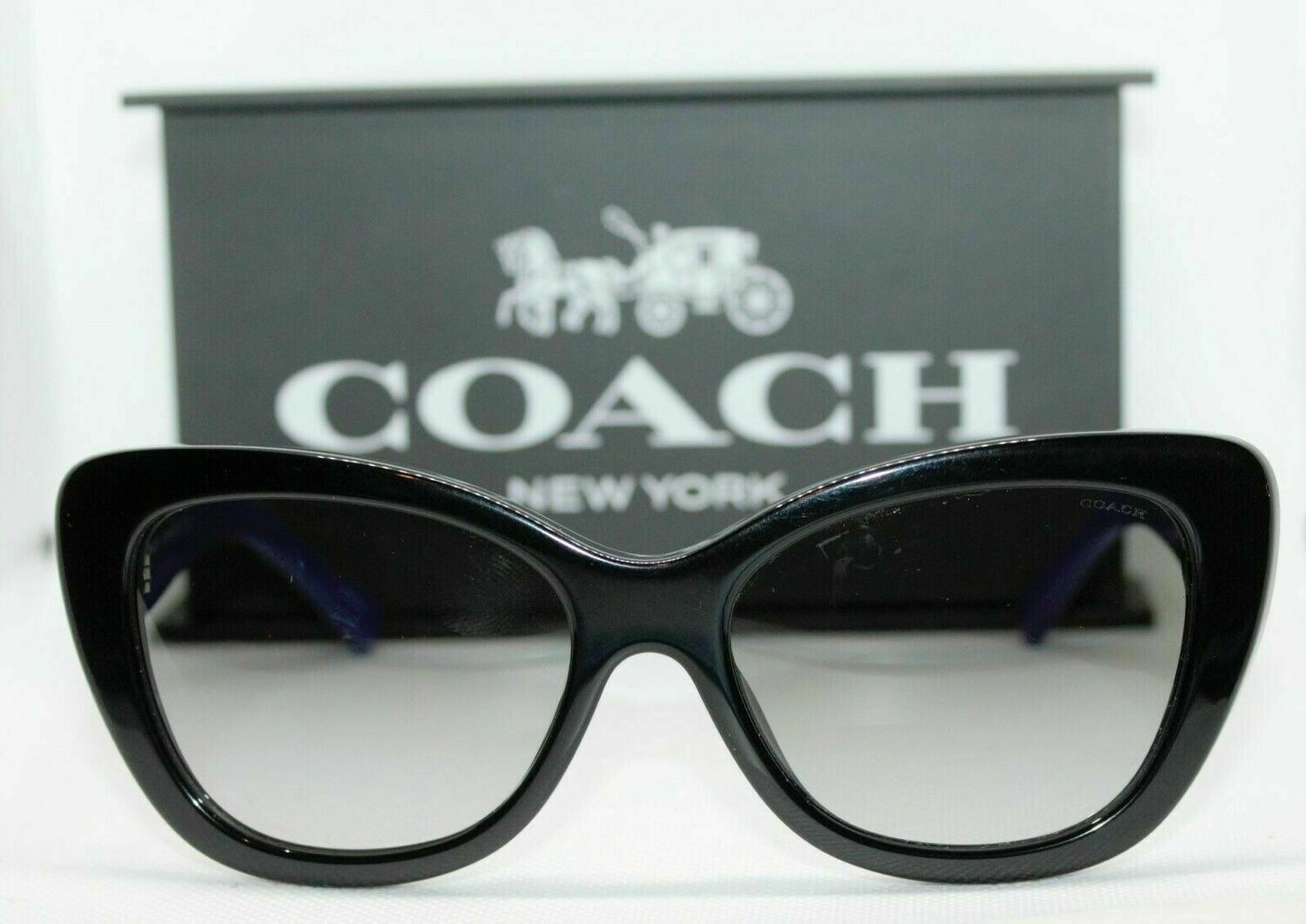 Authentic and New COACH Women's 0HC8143B Black/Blue Sunglasses Case included
