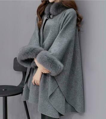 Fashion Womens Fox Fur Outdoor Overcoat Shawl Jacket Cloak Short Parkas One Size