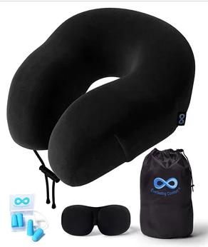 Everlasting Comfort Neck Pillow Kit With Sleep Mask and Earplugs