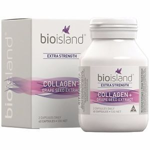 Bio Island Extra Strength Collagen plus Grape Seed Extract 60 Capsules