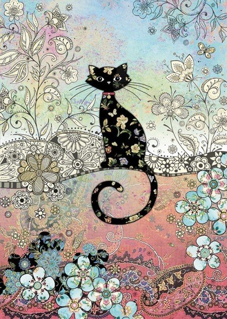 Bug Art Patterned Cat Greetings Card BCW444