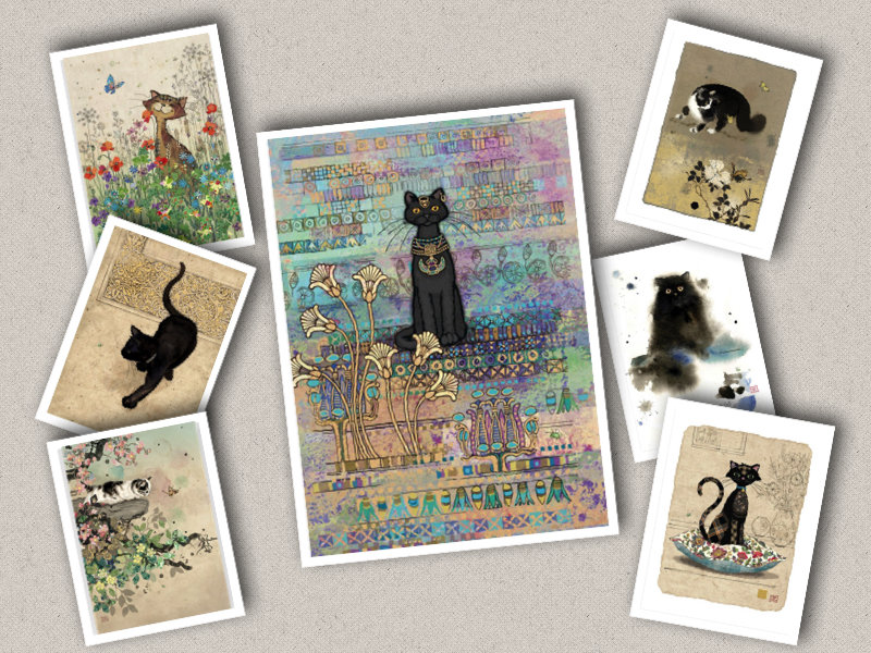 Bug Art Patterned Cat Greetings Card