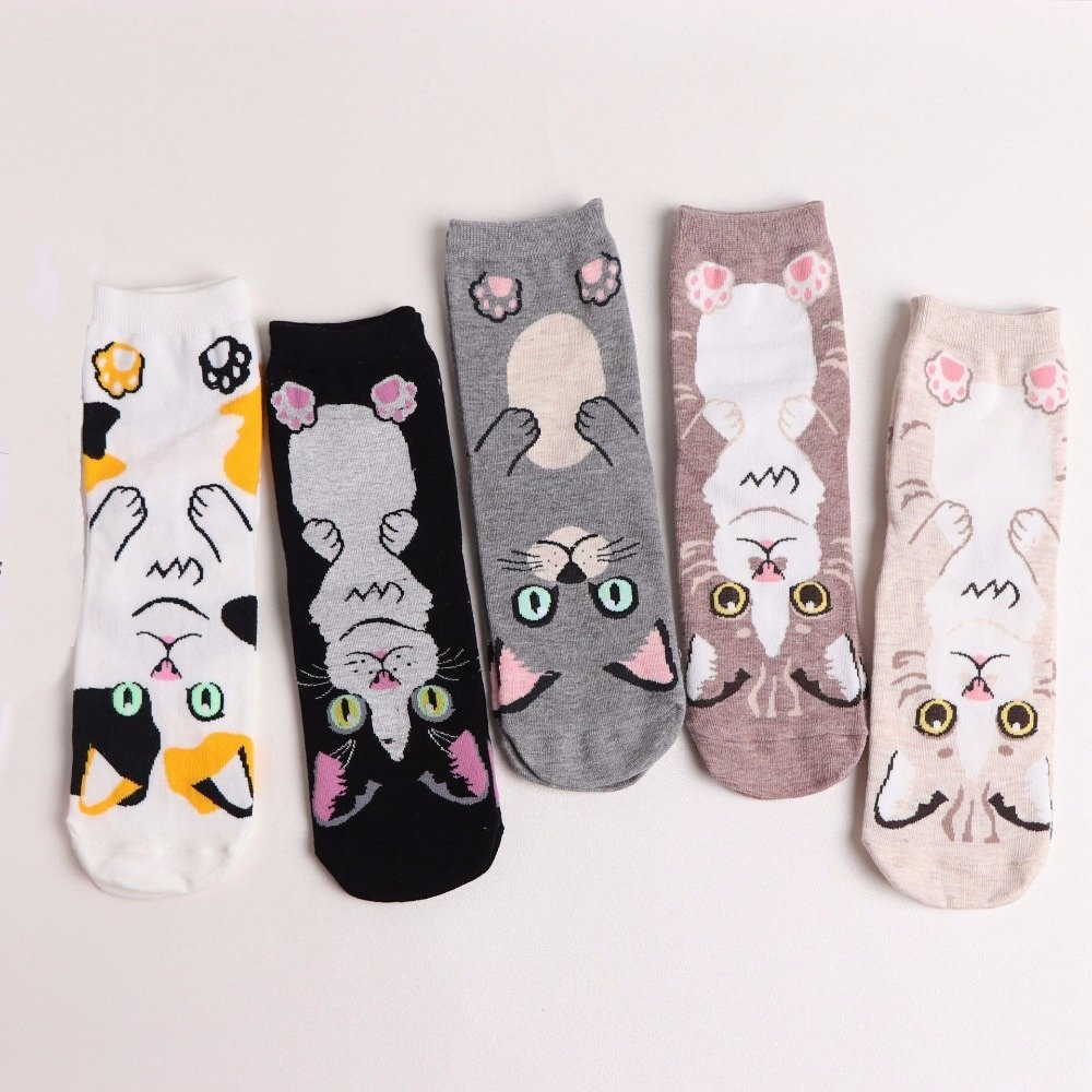 Ladies Cat Socks - Various Designs/Colours BCW337