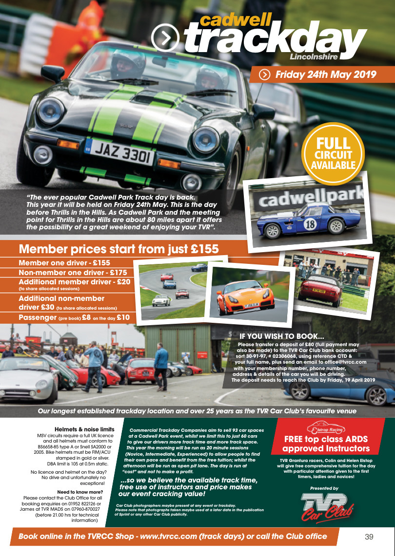 Cadwell Park Track Day -  Friday 24th May Deposit Payment