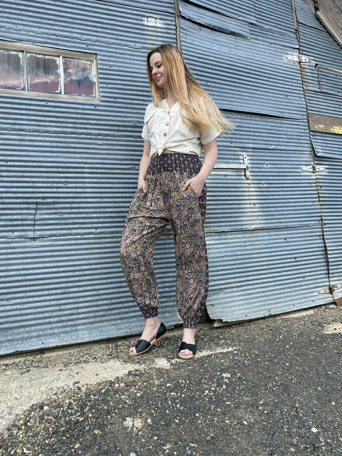 Paisly Smocked Pants