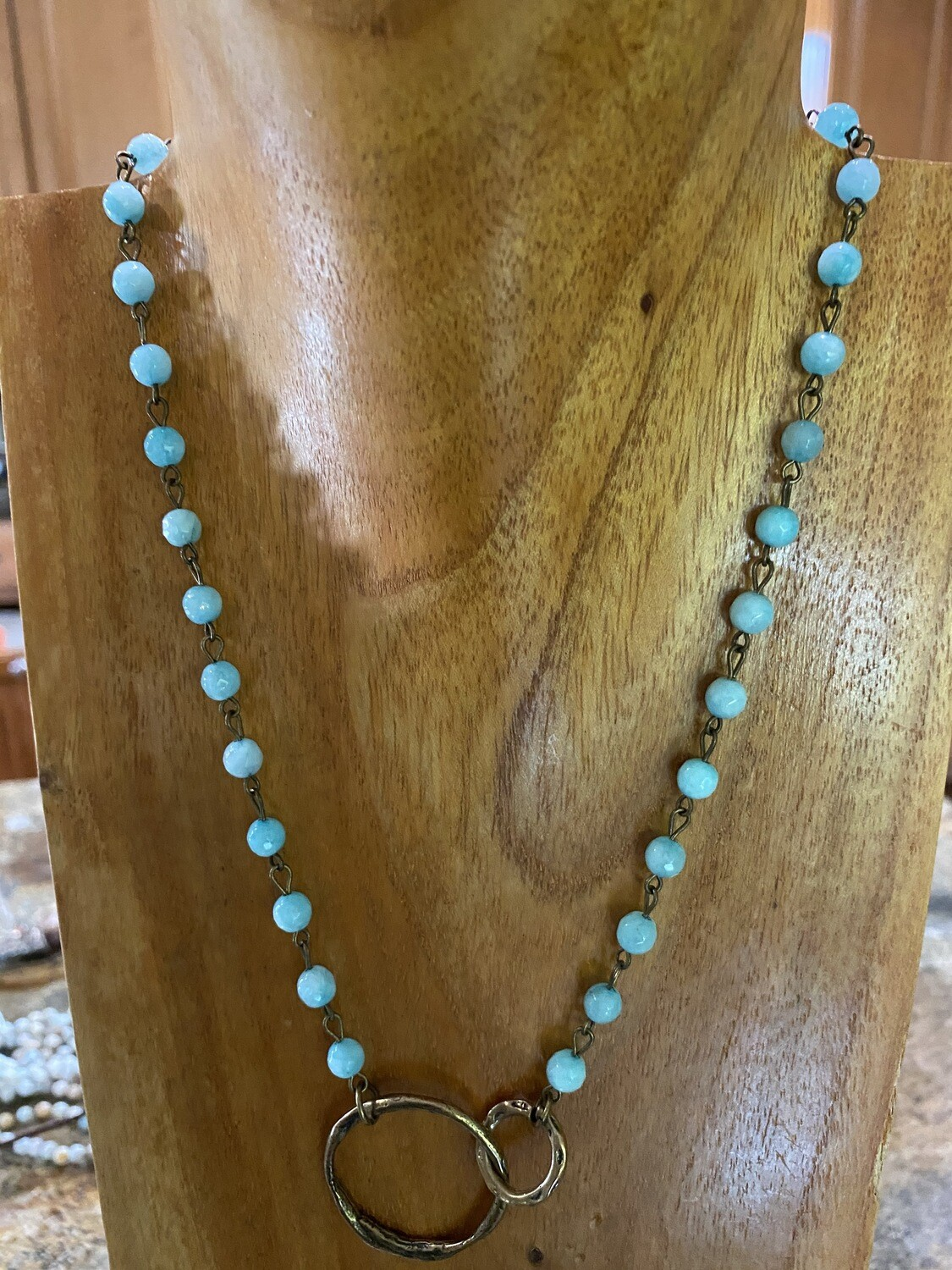 Sm Brass Circle Turquoise Necklace